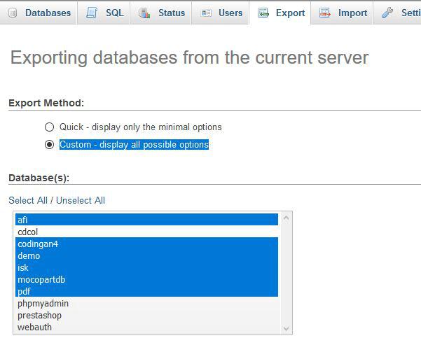 Mengexport semua database sekaligus dalam satu file SQL