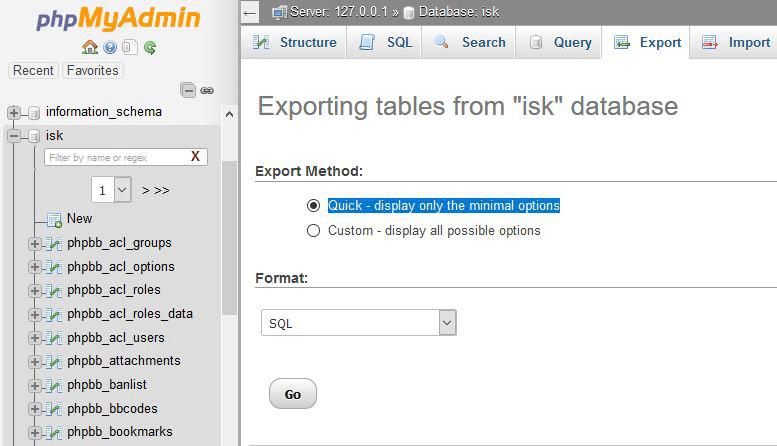 Mengexport database MySQL secara individual