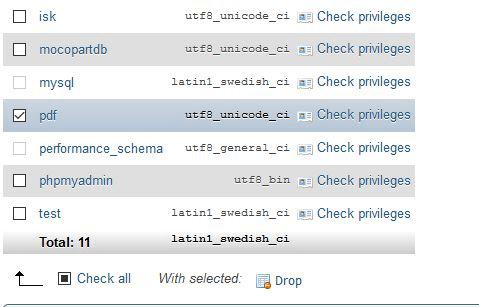 Menghapus database di phpMyAdmin