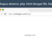Menghapus ekstensi php html dengan htaccess